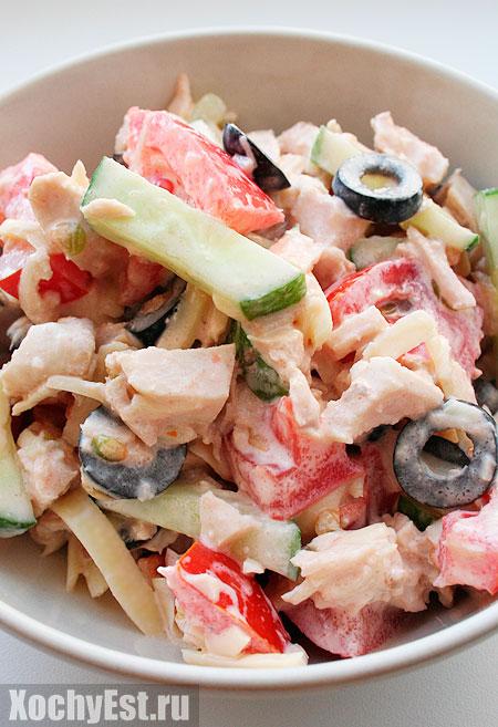 Куриный салат с овощами