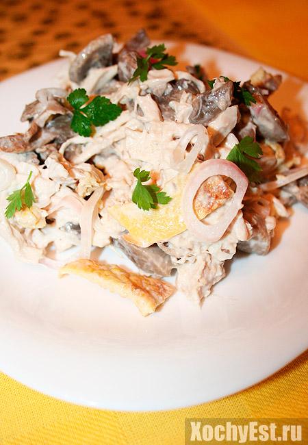 Салат из грибы курица омлет